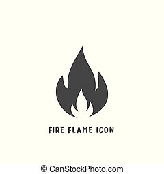 Fire flame icon simple silhouette flat style vector illustration on white background.
