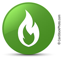 Fire flame icon soft green round button