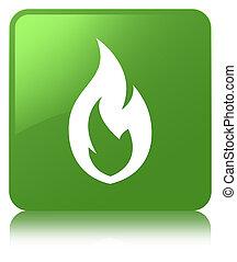 Fire flame icon soft green square button