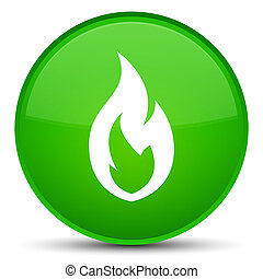 Fire flame icon special green round button