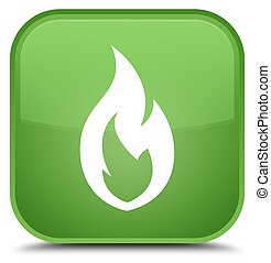 Fire flame icon special soft green square button