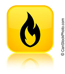 Fire flame icon special yellow square button