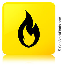 Fire flame icon yellow square button
