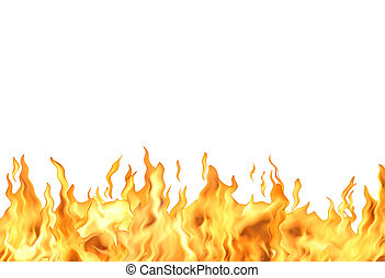 Fire Flame On White - Abstract white background with single...