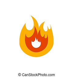 Fire flame on white background. Stock Vector illustration.