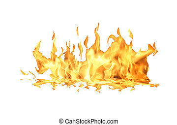 Fire Flame On White - Single fire flame isolated on white...