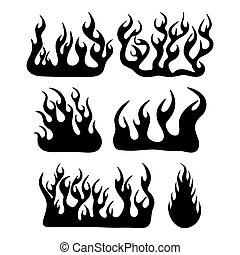 fire flame silhouette set design isolated on white