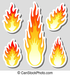 Fire flame stickers set