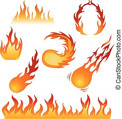 Fire flame swirls set