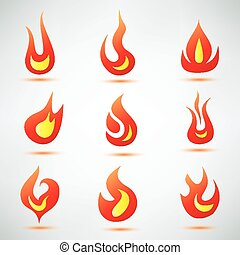 fire flame symbol, set of vector icons