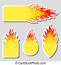 Fire, flame tag label set