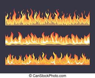 Fire flame vector seamless set