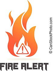 Fire flame with danger sign. Vector Logo Symbol