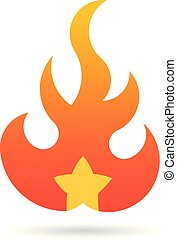 Fire flame with star. Vector Logo Symbol