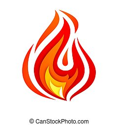Fire flame, yellow red, vector illustration 10eps