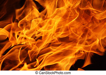 Fire flames background - Fire flames over black background