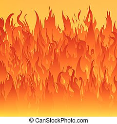 Fire flames background. - Flames of fire on a yellow...