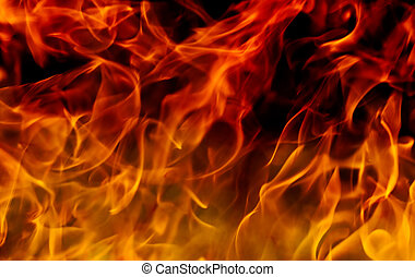 Fire flames background - Hot red and yellow fire flames with...