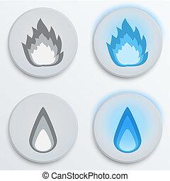 Fire flames blue, set icons, vector illustration