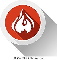 Fire flames, button