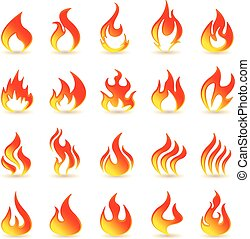 Fire flames .Collage. On a white background with a shadow