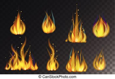Fire flames collection isolated on black background vector.