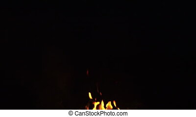 fire flames from campfire over black background, 180fps ...