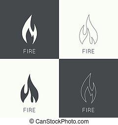 Fire flames. Icon. logo design template. Line art