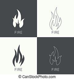 Fire flames. Icon. vector logo design template. Line art