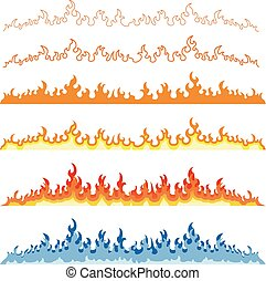 Fire flames icons set isolated on white vector illustration