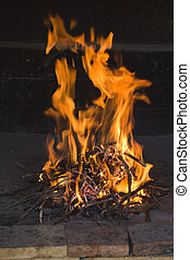 Fire flames in traditional fireside - Strong fire flames in ...