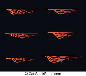 fire flames in tribal style for tattoo, vehicle and t-shirt decoration design. Vehicle Graphics, Stripe, Vinyl Ready Vector Art