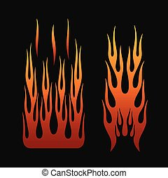 fire flames in tribal style for tattoo, vehicle and t-shirt decoration design. Vehicle Graphics, Stripe, Vinyl Ready collection set