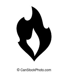 Fire flames, new black icon vector illustration