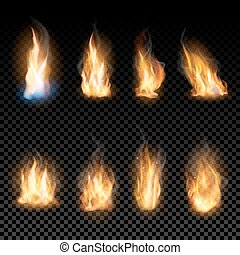 Fire flames on a transparent background. - Set of realistic ...