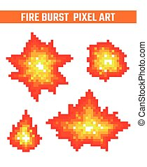Fire flames pixel icons set.