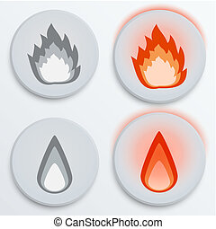 Fire flames red, set icons, vector illustration
