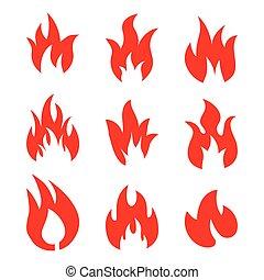 Fire flames, set icons, vector illustration