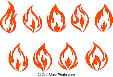 Fire flames set isolated on white background. Vector...