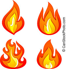 Fire flames set, isolated on white background. Vector...