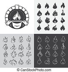 Fire flames set of icons and logos.