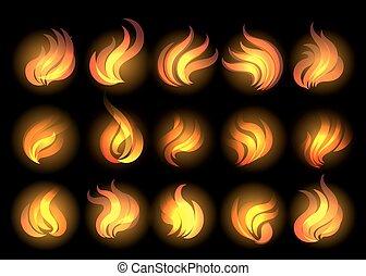 Fire Flames set on black background