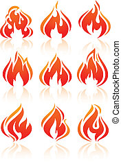 Fire flames, set red icons