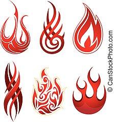 Fire flames set - Set of six artistic fire flame shapes as ...