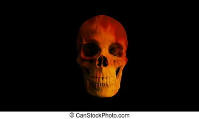 Fire Flames Skull Eats Viewer POV - Human skull opens mouth ...