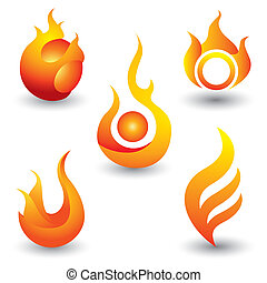 Fire flames symbol icon
