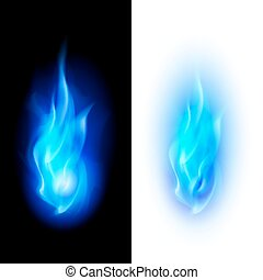 Fire flames - Blue fire flames over contrast black and white...