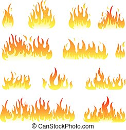 Fire flames vector set isolated on white
