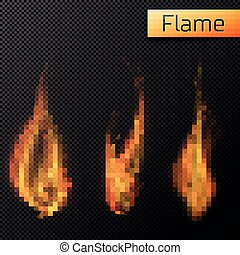 Fire flames vectors on transparent background