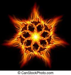 Fire flower. Illustration on black background for design